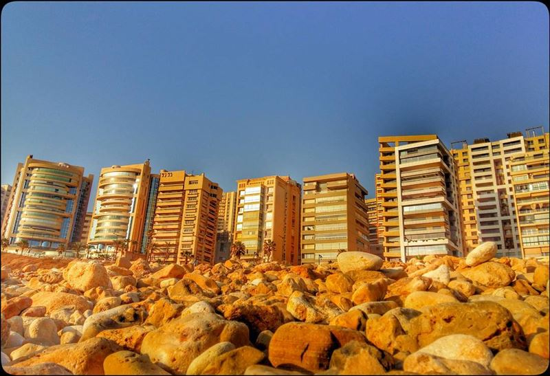 buildings  rocks  shore  beach  city  view  bluesky  beirut  rawche ... (Ramlet Al Bayda Public Beach)